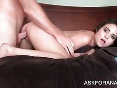 Beautiful brunette gets her both fuck holes nailed