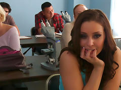 Cute brunette Gracie Glam gets cum over her lips