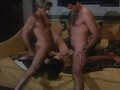 Brunette Handles Two Cocks in Double Penetration Vintage Italian Threesome tube porn video