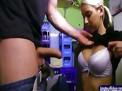 Busty barmaid blows in backroom of cafe
