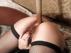 Slutty brunette girl gets her pussy torn up in hot retro video