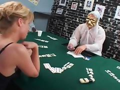 Blond shemale loses the poker game and gets banged porn tube video