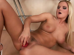 Blonde Barbara Summer plays with that nice dildo