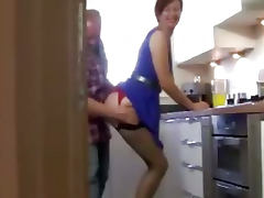 Milf in stockings muffdived in kitchen tube porn video