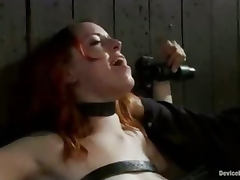 Bound redhead rides sybian and choked tube porn video
