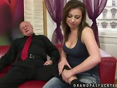 Lucky Old Man Gets Some Help In Cumming From Teen tube porn video