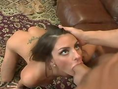 Big tittied babe gets a mouthful after rough sex