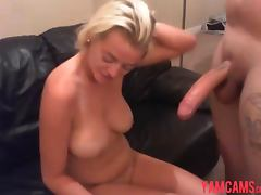 Blonde girl sucks and fucks