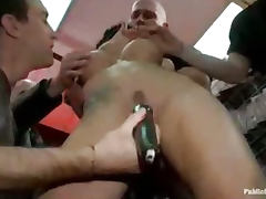Bound babe toyed and hand fucked