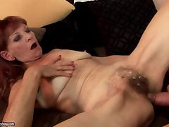 Irene gets her hairy vag licked and pounded in cowgirl position