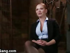 Huge boobs babe overpowered and gangbanged by black dicks