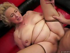 Nasty granny Sila gets her old snatch fucked and creampied tube porn video