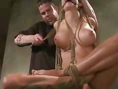 Ballgagged busty BDSM bondage sub punished