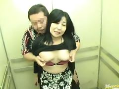 Elevator Sex With Horny Japanese Milf