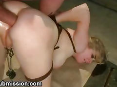 Strapped blonde deep anal fucked
