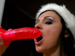 Aletta Ocean is playing with her red dildo