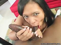 Annie Cruz fingers her pussy and rides some black prick