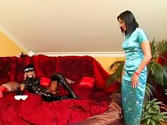 Latex and strap on fun porn tube video