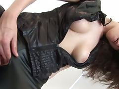 Claudia jazz rocks a sexy leather outift tube porn video
