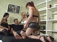 Poor guy gets gangbanged by three shemale hotties