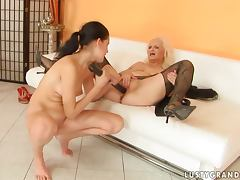 Nasty granny Marianne gets her pussy toyed by some pretty brunette