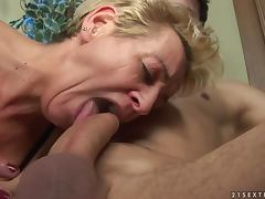 Lewd granny Autumn Leaf seduces a handsome guy and makes him fuck her