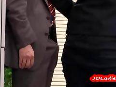 Office Lady Giving Blowjob Jerking Guy Cock In The Busy Office tube porn video
