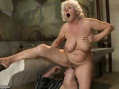 Lewd granny Norma moans loudly while getting her snatch licked and fucked tube porn video