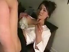 Big boob brunette gets fucked and facialed in the office