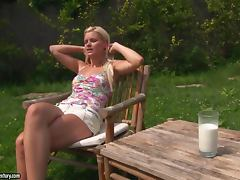 Blonde Fingers Her Cunt Outdoors