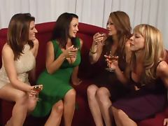 Four gorgeous lesbians licking and fingering each other's slits