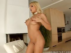 Luxurious and glamorous blonde lady in hot solo video