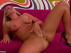 Cara the sexy blonde in high heels fingers her hot pussy