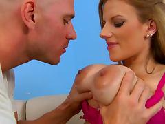 Haley Cummings is sucking slender dick of Johnny Sins tube porn video