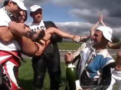 Rough, Blowjob, Brunette, Champagne, Cum in Mouth, Facial