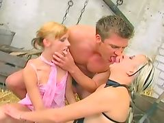 Hot threesome with two blonde whores