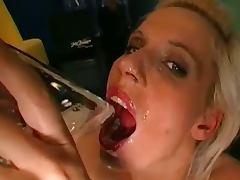 Blonde german whore drinks cum