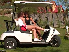 Amazing Outdoor Lesbian Action on a Golf Cart with Sexy Bitches