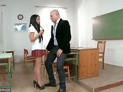 Kerry Rides Her Teacher Thick Long Cock