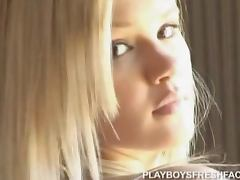 Hot blonde Caitlin Ferguson strips and shows her natural beauty