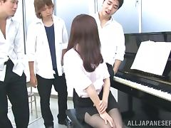 Horny Japanese pianist sucks dicks and gets toyed tube porn video