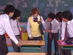 Akie Harada the sexy girl in school uniform blows dicks
