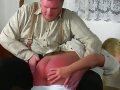 Sweet babe being spanked with force