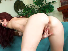 Curly redhead babe Karlie Montana shows off her pussy tube porn video