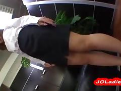 Office Lady Sucking And Riding On A Dildo In The Office