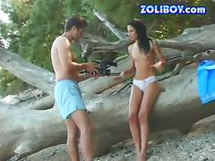 Hot brunette porn star is fucked outdoors at the beach