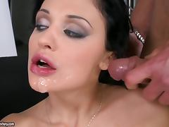 Aletta Ocean enjoys perfect DP and gets cum on her face and tits