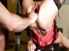 Horny milf fist fucked in her gaping cunt till she squirts