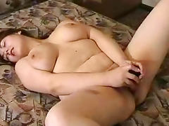 Bed, BBW, Bed, Brunette, Chubby, Dildo