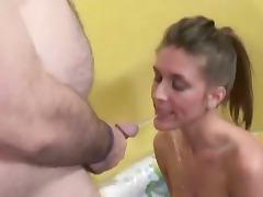 Chick in nasty pissing threesome